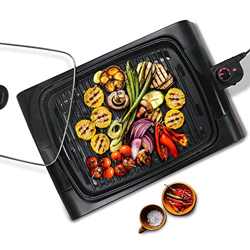 Elite Gourmet EGL-6501 XL Indoor Electric Smokeless BBQ Grill with Glass Lid Nonstick Surface Adjustable Temperature Fast Heat Up Ideal For Low-Fat Meals, Dishwasher Safe, 16' x 12' Square, Black
