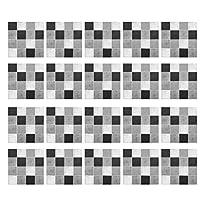 モザイクスクエアタイルステッカーピールスティックキッチンbacksplashの階段階段家具ステッカーデカールリビングルーム壁飾り(20枚/セット),Grey black,6x6 inch