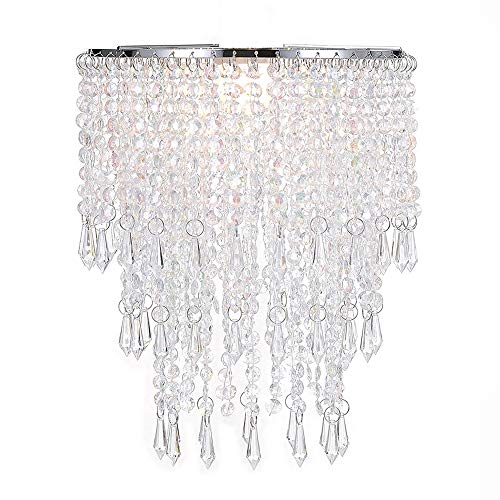Waneway 3 Tier Beads Pendant Shade, Ceiling Chandelier Lampshade with Acrylic Jewel Droplets, Beaded Lampshade with Chrome Frame and Sparkling Beads, Diameter 22 cm, Clear