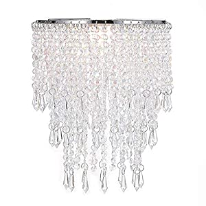 Waneway Acrylic Chandelier Shade, Ceiling Light Shade Beaded Pendant Lampshade with Crystal Beads and Chrome Frame for Bedroom, Wedding or Party Decoration, Diameter 8.7 inches, 3 Tiers, Clear