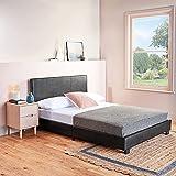 Home Treats - Marco de cama de piel sintética para dormitorio, color negro doble pequeña negro
