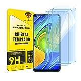 ACTECOM Pack de 3 Protector de Pantalla Compatible con Xiaomi Redmi Note 9 Cristal Templado CASE FRIENDLY 9H 2.5D (3 uds.)
