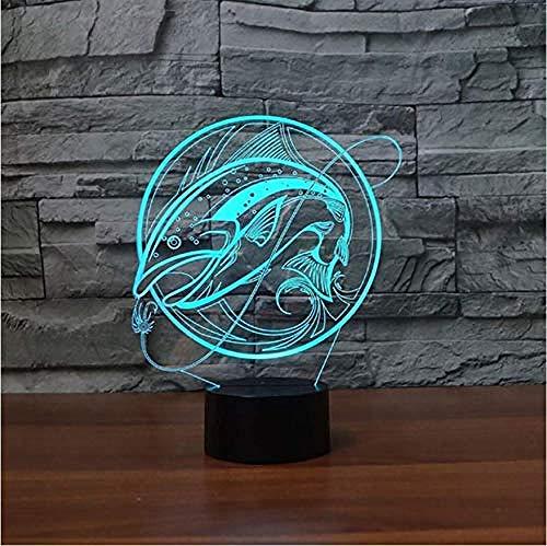 Angeln Lampe 3D Usb Led Nachtlicht 3D Remote Touch-Schalter Farbwechsel Innen Lampe Karpfen Haken Ordner Schreibtischlampe Für Spielzeug Geschenk Touch-Schalter