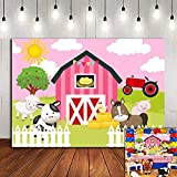 Sweet Pink Farm Animals Themed Photography Backdrop Children Kids Birthday Party Supplies Cute Farmhouse Photo Background Baby Shower Decorations Vinyl 5x3ft Photo Booth Studio Props Cake Table
