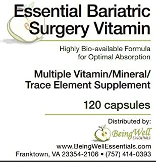 Essential Bariatric Surgery Vitamin Highly Bio-available Formula for Optimal Absorption 120 Capsules