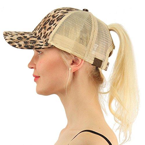 C.C Ponytail Messy Buns Trucker Ponycaps Plain Baseball Visor Cap Dad Hat Leopard