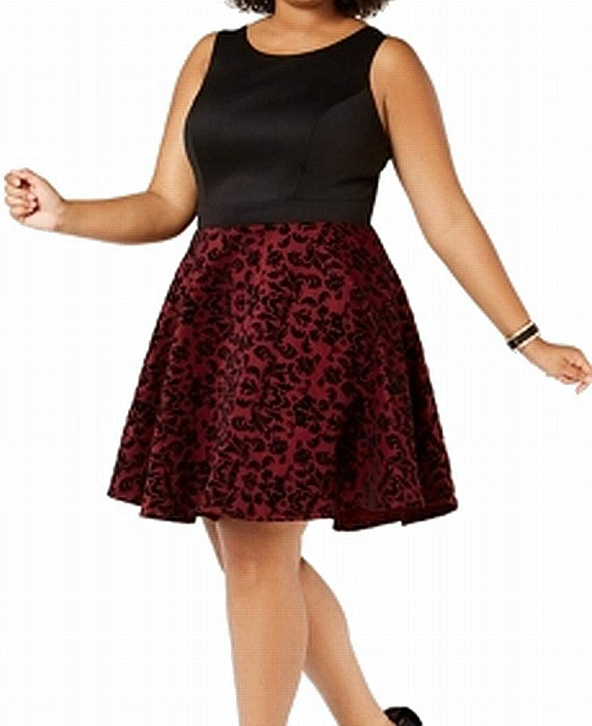 CITY STUDIO Super sale period limited Women's Manufacturer regenerated product Plus Size Flocked Fit Flare Dress