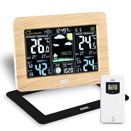 ADE Wetterstation WS1914 mit Funk und Außensensor. Digitale Profi Funkwetterstation aus echtem Bambus. Für präzise Vorhersage, Anzeige Innen- und Außen-Temperatur, Hygrometer. Großes LED Farbdisplay