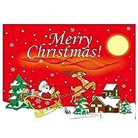 Idiytip 1個エルクの壁掛けクリスマスタペストリー装飾家族パーティーメリークリスマスクリスマスツリー背景 赤いそり