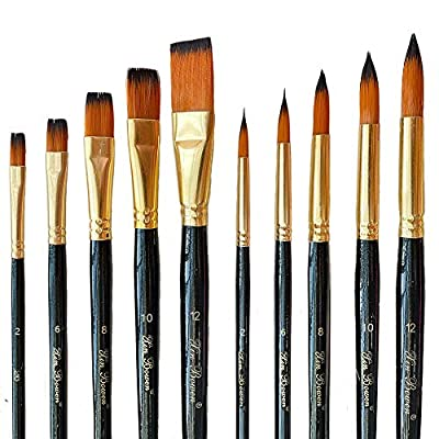 Flat Paint Brush and Pointed Round Paint Brushes Set,10 Pcs Art Paintbrushes for Art Students/Artists/Painters/Professionals,High-Grade Brushes for Acrylic/Oil/Watercolor(Black Brushes-5Flat +5Round