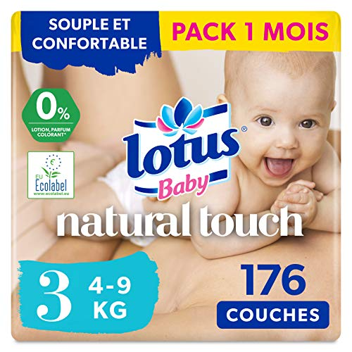 LOTUS BABY Douceur Naturelle - Couches Taille 3 (5-9 kg) Pack 1 mois - 176 couches