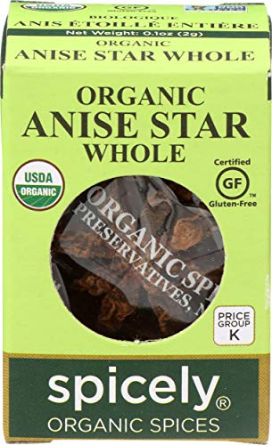 Spicely Organic Anise Star Whole 0.10 Ounce ecoBox Certified Gluten Free