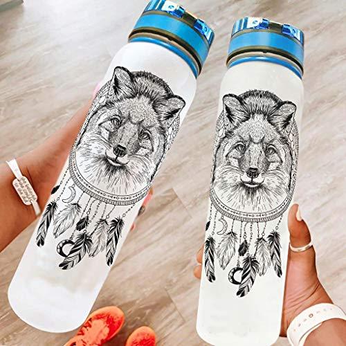 Annlotte Water Bottles – Fox Dreamcatcher 32 oz Non-Toxic Tritan Portable Reusable Gym Bottle for Sports Outdoor Travel White 1000 ml