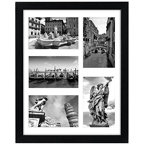 Americanflat 11x14 Black Picture Collage Frame | Displays Five 4x6 Pictures with Mat or One 11x14 Picture Without Mat. Shatter-Resistant Glass. Hanging Hardware Included!