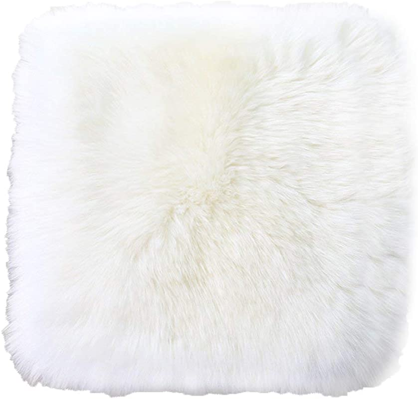 Sell4Style 18 Inch Australia Genuine Sheepskin Car Seat Cushion Covers Chair Pad One Seat Cover For Car Office Chair Or Plane White