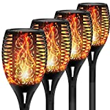 FAISHILAN 4 Pack Solar Torch Lights, Waterproof Flickering Flame Solar Torches Dancing Flames
