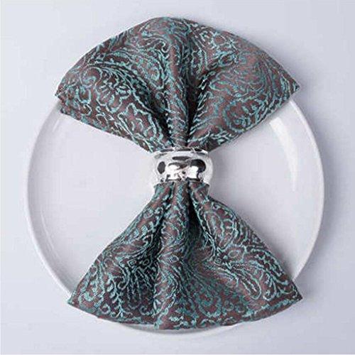 MXJ61 Accueil Jacquard Hôtel Bouche Tissu Serviette Restaurant Pliant Fleurs Essuyer Coupe Tissu Décoration Napperon 46 * 46 cm ( Couleur : Vert foncé , taille : 1 Pcs )