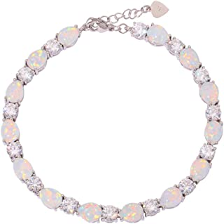 CiNily Created White Fire Opal Topaz Rhodium Plated for Women Jewelry Gems Chain Bracelet