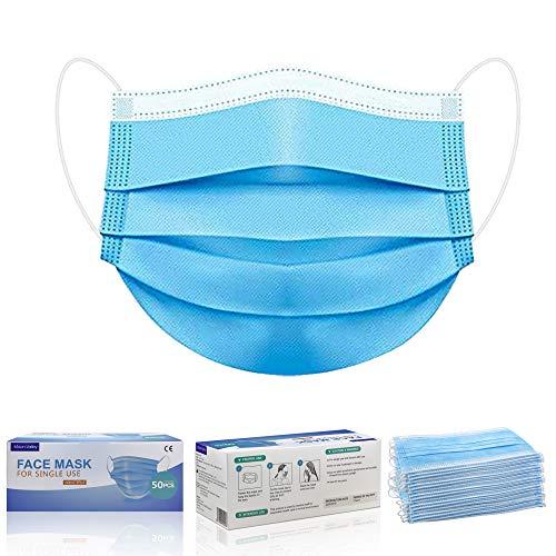 Moon-Valley 50 Stück Mundschutzmasken 3-lagig Mundschutz Gesichtsmaske Einwegmaske Staub schutzmasken mundschutz Maske Atemschutz