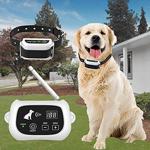 Pawpular Wireless Dog Fence, Dog Boundary System Training Collar,IP67 Waterproof Wireless Pet Containment System,Adjustable Pet Training Collar Receiver,Harmless for All Dogs