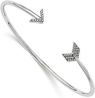 925 Sterling Silver Cubic Zirconia Cz Arrow Bangle Bracelet Cuff Expandable Stackable Fine Jewelry For Women