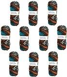 Hilo de Lana para Tejer Crochet Ganchillo o Punto Torrijo INCA 80g, Ovillo de Lana Suave Acrílica para Tejer   10 Unidades, Multicolor 1821