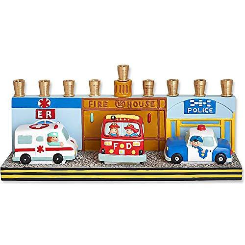 Aviv Judaica Hanukkah First Responders Menorah Design - ER Ambulance, Fire Truck, Police Car Menora for Kids - Ceramic