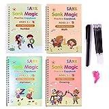 4 PCS Kids Magic Practice Copybook Set,English Reusable Magic Calligraphy Tracing Book for Handwriting Magical Letter Writing Book for Kindergarten with Pens