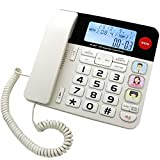 JeKaVis J-P47 SOS Home Corded Phones with Big Button/Caller ID/Light Button, Amplified Phones for Seniors with Picture Button Support One-Touch Speed Dial