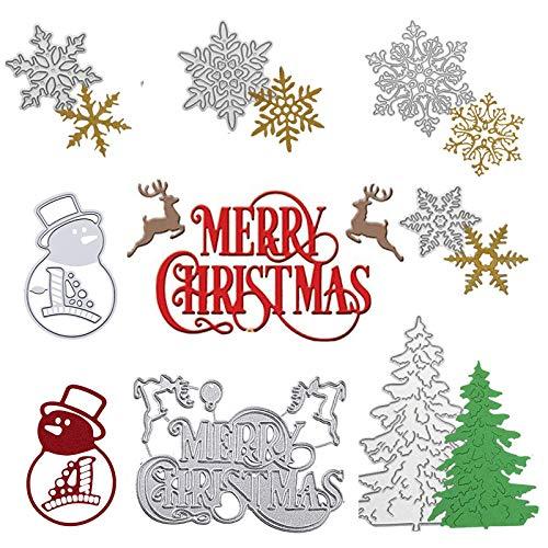 Winbao 7 Pieces Merry Christmas Die Cuts, Christmas Tree Metal Cutting Dies Snowflake Deer Snowman Cut Stencils for Card Making DIY Scrapbooking Paper Dies for Album Decorative Embossing