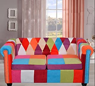 Chesterfield 2 Seater Sofa Coloful Fabric Patchwork Settee Retro Multi Colour Couch Large Living Room Furniture Modern Double Sofa