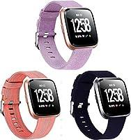Gransho コンパチブル Fitbit Versa 時計バンド ナイロンスポーツループバンド (3PCS E)