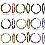 9 pares de pendientes de aro con purpurina bohemia con diamantes de imitación envueltos en forma de gota para mujeres y niñas