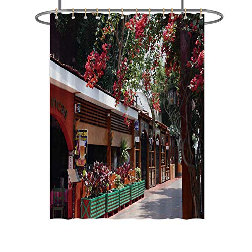 CUDEVS View of Italian Food Restaurants in Miraflores touristic District Lima,Fabric Shower Curtain This Place The Local Language is for Bathroom 72x84