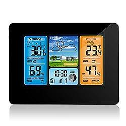 Barbella Wireless Weather Forecast Station-Color Display Alarm Clock Temperature Alerts, Indoor Outdoor Temperature Humidity, Remote Sensor, Barometer Temperature Alerts, Alarm Clock and Moon (Black)