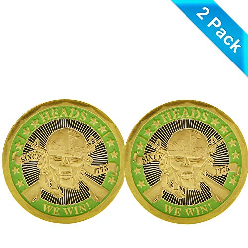zcccom 2 pcs Set of Challenges Coins Deluxe Collector's Set | Heads We Win Tails You Lose Challenge Coin - Officially Licensed Each Coin Comes w/ a Plastic Round Display Case