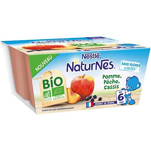 Nestlé Naturnes Bio Compotes bébé Pomme, Pêche, Cassis Dès 6 mois 4x90g