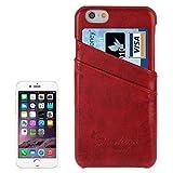BEIJING ♋ PROTECTIVECOVER + Funda Trasera de Cuero de PU Retro de Deluxe con Ranuras de Tarjetas con Logotipo de Moda for iPhone 6 y 6s De Caja de protección de la Moda (Color : Rojo)