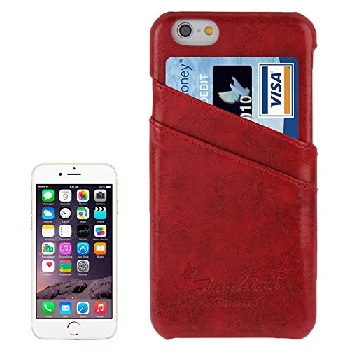 H-HX Case Leather Deluxe Retro PU Leather Case met kaartsleuven met Mode Logo for iPhone 6 Plus & 6S Plus (donkerblauw), rood