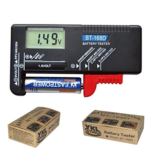 Lowest Price! YKL WORLD Battery Tester, Digital LCD Universal Battery Checker for AA AAA C D 9V 1.5V...