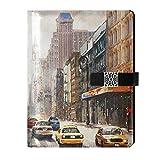 Cuaderno de cuero para diario diario de viaje de Nueva York, paisaje de la calle, rellenable, tamaño A5, cuaderno de tapa dura, regalo para mujeres y hombres