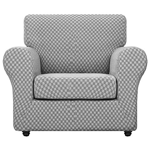 XIKUO 2-delige stoelhoezen voor woonkamer Moderne dubbele kleur stoelkussenovertrekken met armen Stretch linnen-achtige bank Fauteuil Hoes Honden Huisdieren Bankbeschermer