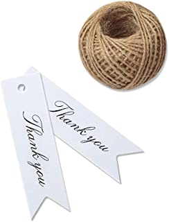 Thank You Tags, G2PLUS 100 PCS White Gift Tags with String, Paper Hang Tags, Kraft Paper Gift Tags with 100 Feet Jute Twine for Arts and Crafts,Wedding, Christmas, Thanksgiving