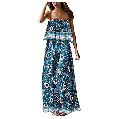 Xisimei Vestido de verano para mujer, estilo informal, sin tirantes, estilo bohemio, maxi largo, sin mangas, para cctel o para la playa., verde, XXL