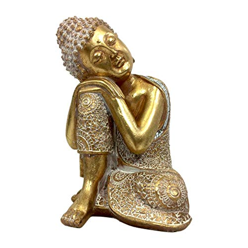 Big Buddha Statue Figurine for Home Décor or Outdoor Patio, Buddhist Gift for Men or Women (Gold White Patina Finish) -  Hope Brands