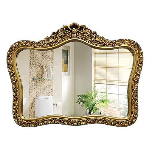 LIJING Espejo de Pared con decoración de Corona 83 * 67 cm / 32 * 36 Pulgadas,95 * 72 cm / 37 * 28 Pulgadas Espejo de baño Estilo Retro para Pasillo Dormitorio Decoración del hogar