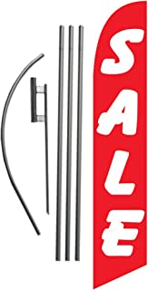 Sale (red/White) 15ft Feather Banner Swooper Flag Kit Sign - Includes 15FT Pole KIT w/Ground Spike