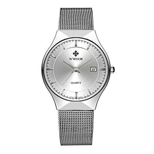 WWOOR Elite Sport - Reloj analógico de cuarzo para hombre, color plateado, ultrafino, correa de malla de acero inoxidable, con fecha automática, color negro