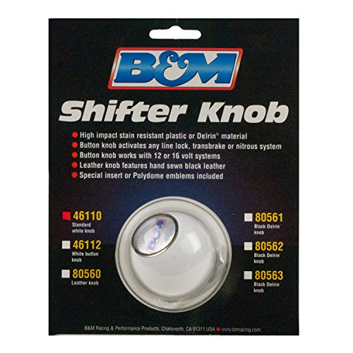 B&M 46110 White Replacement Shifter Knob with SAE Threads