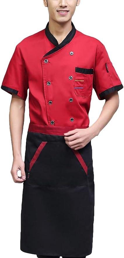 BESTonZON Camisa de Manga Corta para Chef Chef de Manga Corta ...